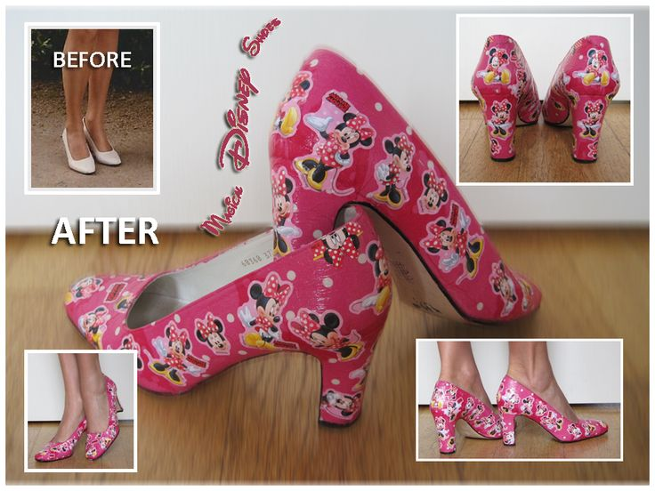 Pimpen van schoenen. Decoupage. Modpodge. Servetten en Minnie Mouse stickers. 2014