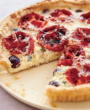 Oven-Dried Tomato Tart with Goat Cheese and Black Olives: Recipe: bonappetit.com
