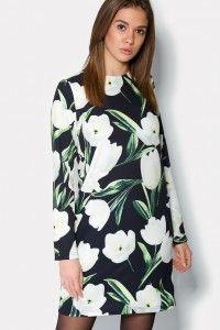 """Черное платье с принтом белых тюльпан  """"LAUREL""""  размеры 42,44,46"""