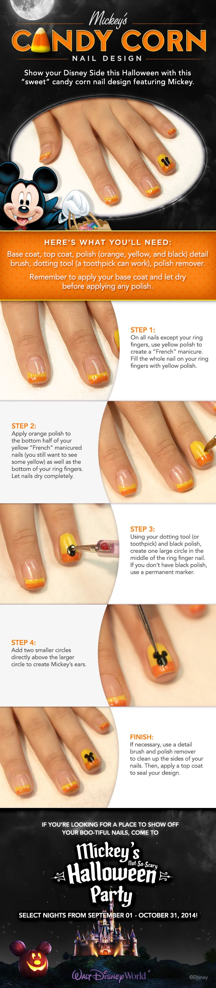 Get ready for Mickey's Not-So-Scary Halloween Party with these Candy Corn DIY Nails! #waltdisneyworld