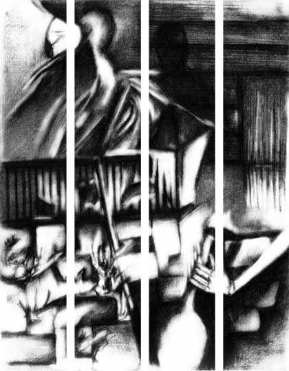 A HALF SHRIEK OF JOY - Atelier Rambling Powder #artprint, #black and white, #edgar allan poe,  #caspar david friedrich, #romanticism, #expressionism, #drawing, #abstract, #architecture, #illustration, #space, #the wall, #rambling powder, #poster, #artwork, #pencil drawing,  #illustration art, #bookmark, #crowd