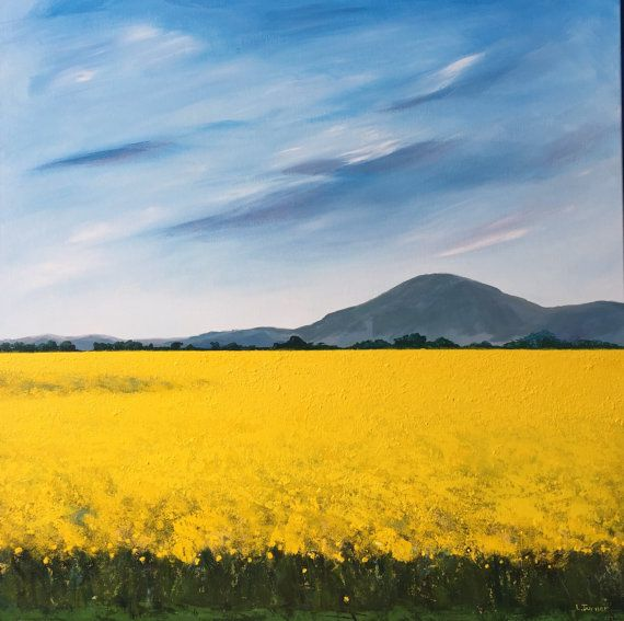 Passing the Canola Fields, Country Painting, Acrylic on Canvas, Australian Artist, Ready to Hang, Landscape