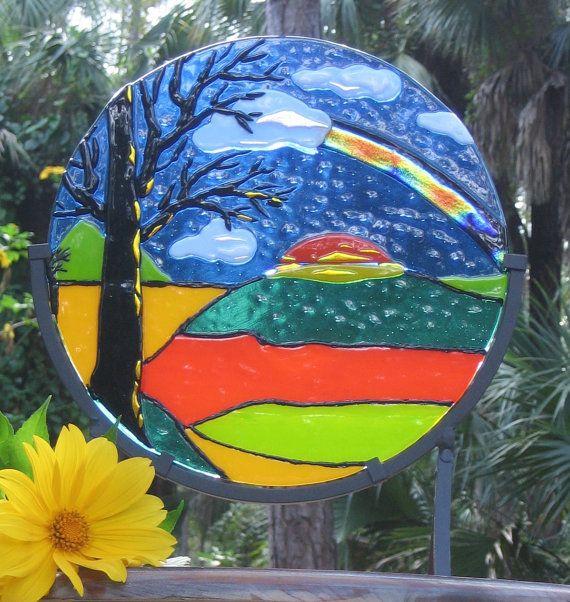 Suncatcher COUNTRYSIDE RAINBOW fused glass art by IZABELLAArtGlass, $210.00