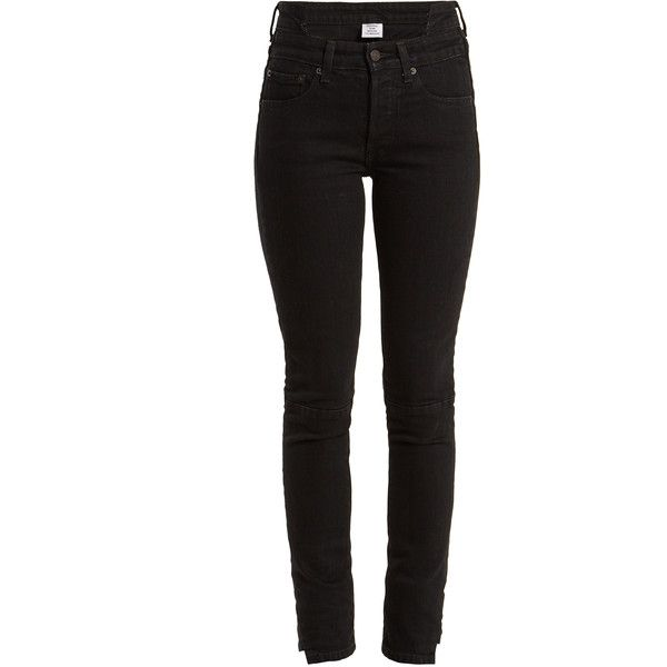 Vetements X Levi's reworked high-rise skinny-leg jeans (1450 PAB) ❤ liked on Polyvore featuring jeans, black, vintage skinny jeans, high rise jeans, denim skinny jeans, high-waisted jeans and high-waisted skinny jeans