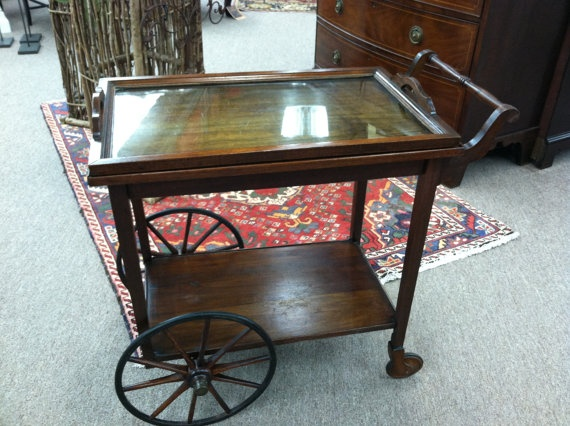 Gorgeous Antique Mahogany Rolling Tea Cart Circa By