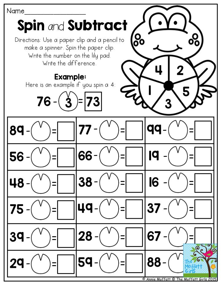 Spin and Subtract- Don't you just love the math worksheets that make learning seem like a game? This activity is perfect for first grade, or as a review for second grade.  Come see the many other ways to make teaching easy and learning fun in the NO PREP Packets for May!