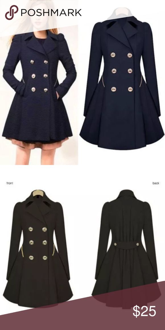 Navy parka coat ONE DAY SALE!! Light parka navy coat. Soft  100% polyester. Brand new never worn. Could probably fit a medium Jackets & Coats Pea Coats