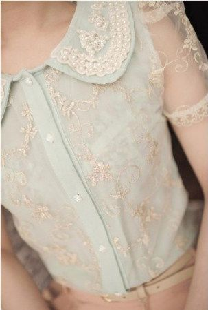 ♕ sweet embroidered pearl lapel puff lace blouse ~ so beautiful!