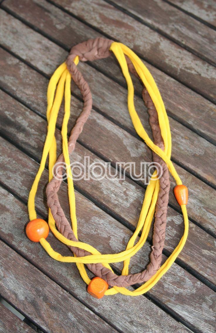 Te koop ~ €6,75 ~ Hippie ketting #hippie #ketting #modi #koord #elastische #cord #houten #kralen #oranje #bruin #geel #Orange #wood #brown #yellow #gevlochten #braided #handgemaakt #handmade #fashion #buy #candy #online #kopen #shop