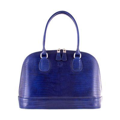 Blue, leather shoulder bag