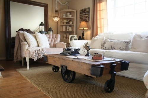 An industrial cart becomes an industrial-chic coffee table.: Industrial Furniture, Coffe Tables, Coffee Tables, Tables Design, Traditional Living Room, Industrial Chic, Shabby Chic Design, Industrial Style, Industrial Design
