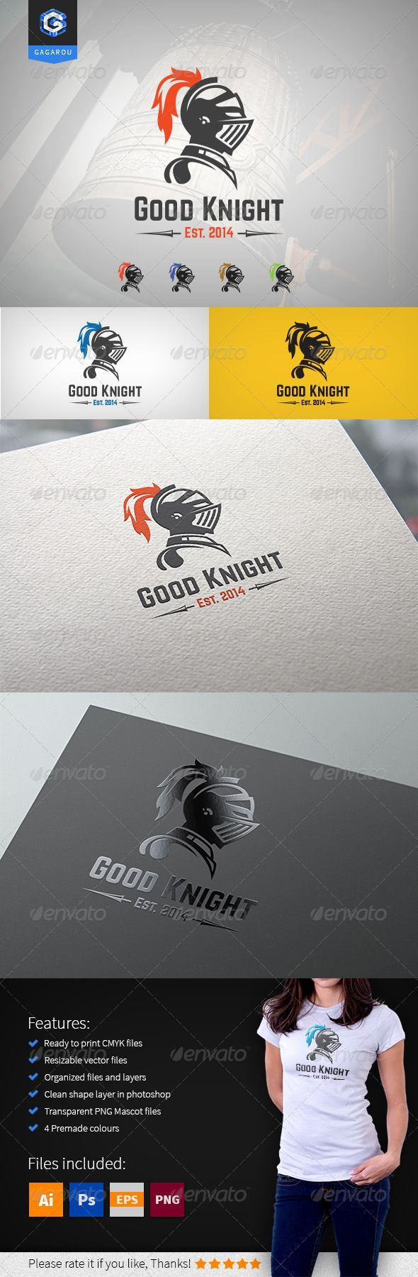 Good Knight logo — Photoshop PSD #helmet #sport • Available here → https://graphicriver.net/item/good-knight-logo/8351359?ref=pxcr