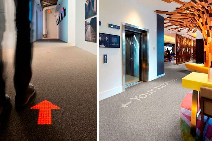 Luminous carpets - lysende wayfinding i gulv. Luminous carpets er et produkt af et tæt samarbejde mellem Philips og DanSign.  Luminous carpets er usynlig integration af LED i tæpper