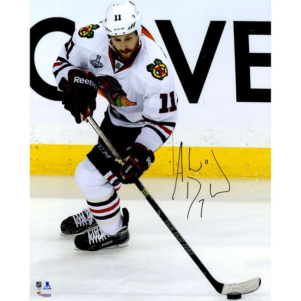 """Andrew Desjardins Chicago Blackhawks Fanatics Authentic 2015 Stanley Cup Champions Autographed 16"""" x 20"""" Stanley Cup Finals White Jersey Skating By Boards Photograph - $64.99"""