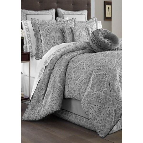 J Queen New York Gray Colette Comforter Set ($380) ❤ liked on Polyvore featuring home, bed & bath, bedding, comforters, grey, king comforter, gray comforter, california king comforter sets, cal king comforter sets and grey comforter
