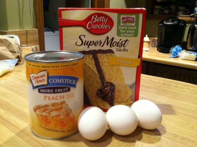A box of cake mix, three eggs, and a can of pie filling! You can use any cake mix and pie filling combination!