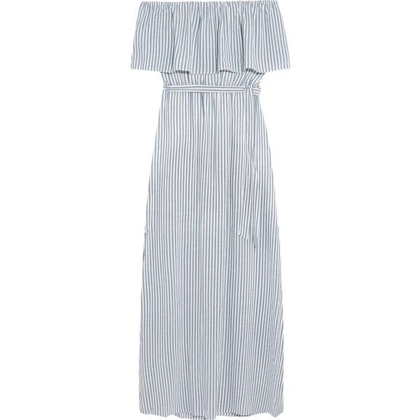 Alice + Olivia Grazi off-the-shoulder striped poplin maxi dress ($375) ❤ liked on Polyvore featuring dresses, blue maxi dress, off shoulder dress, striped maxi dress, alice olivia dress and sash belt