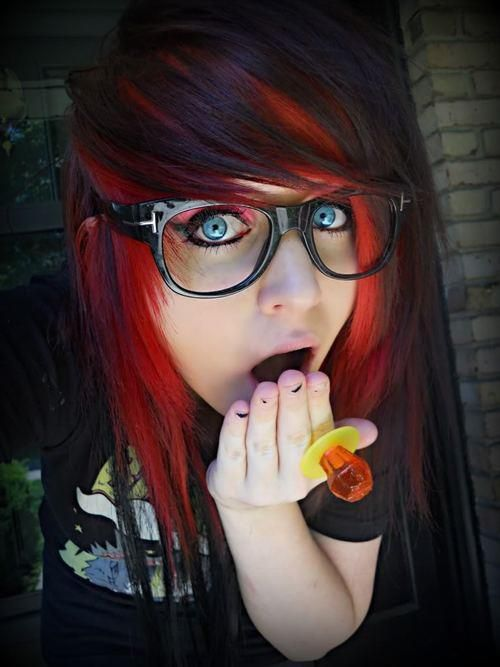 Think, Black emo girl with red hair final, sorry