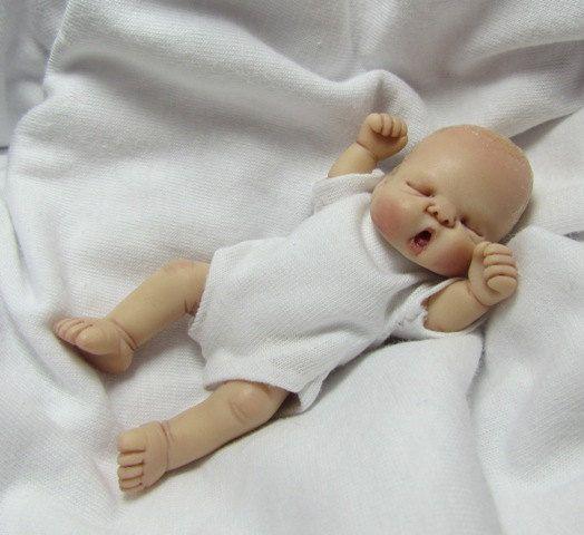 OOAK Hand Sculpted Miniature Baby
