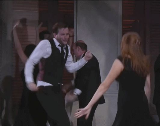 Animated gif from Much Ado About Nothing with Catherine Tate - David does the leg guitar. HE IS PERFECT.