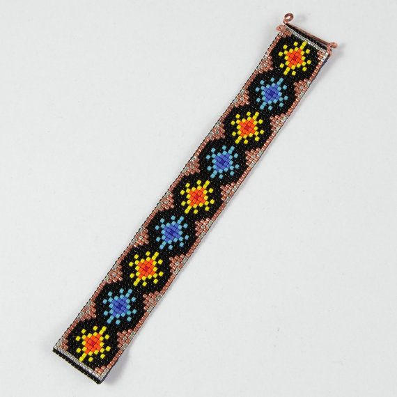 This Sun & Stars Bead Loom cuff bracelet was inspired by the beautiful Native American patterns I see around me here in Albuquerque, New Mexico. As