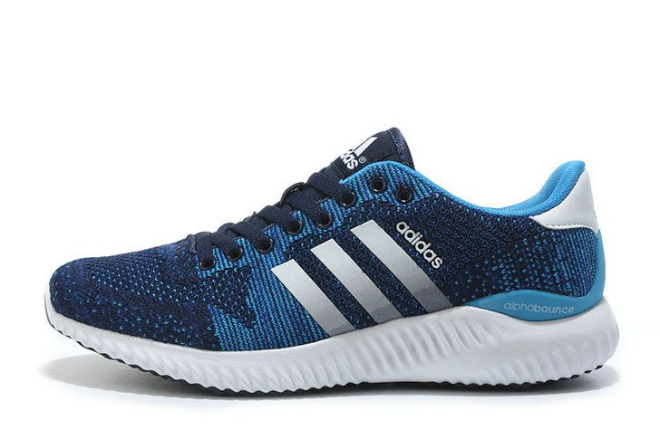 info for 4c6e4 4cd3d 2018 Authentic Adidas Alphabounce Fall Primeknit Navy Blue Sport Turquoise  Silver Shoe
