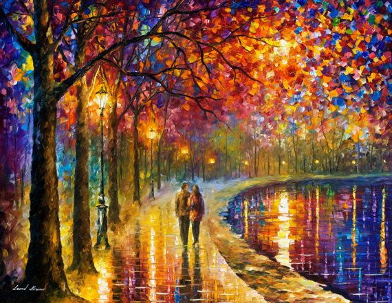 OIL ON CANVAS PAINTING DIRECTLY FROM FAMOUS ARTIST LEONID AFREMOV Title: Spirits By The Lake Huge Size: 48 x 36; 54 x 40; 72 x 48; 81 x 54 Condition: Excellent Brand new Gallery Estimated Value: $ 16,500 Type: Original Recreation Oil Painting on Canvas by Palette Knife This is a