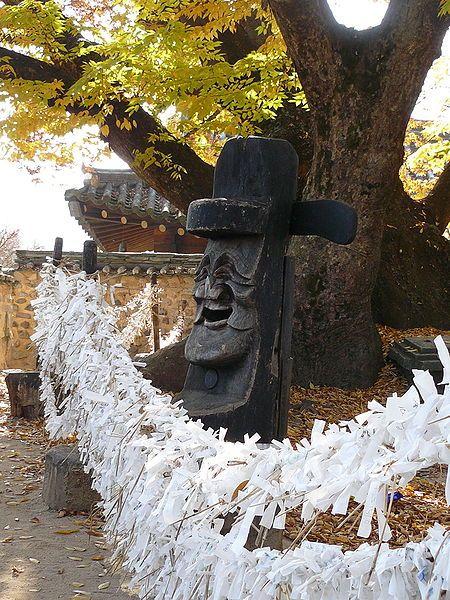 A jangseung (totem pole) at Hahoe Folk Village, Andong, South Korea.