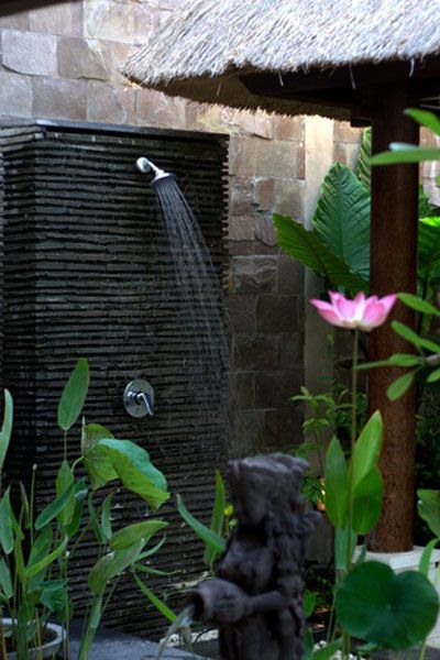 outdoor shower Zen Garden asain inspired water feature bamboo large Buddah low maitinance simple clean lines