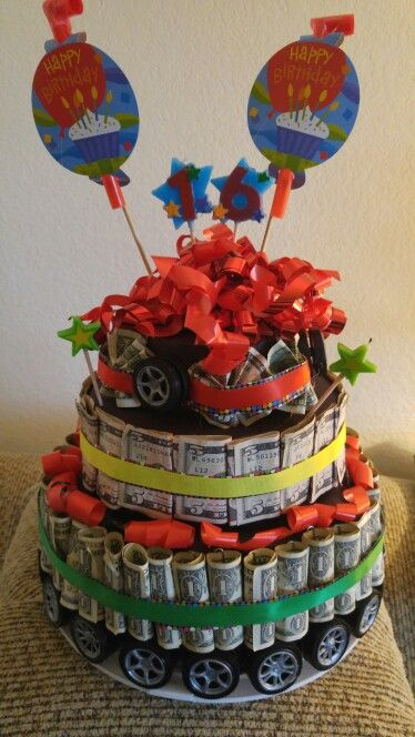 16th birthday money /cash cake gift for boy or girl. Car theme for Drivers license time! This one has $160.00 1's=40   5's=24 (120.00)