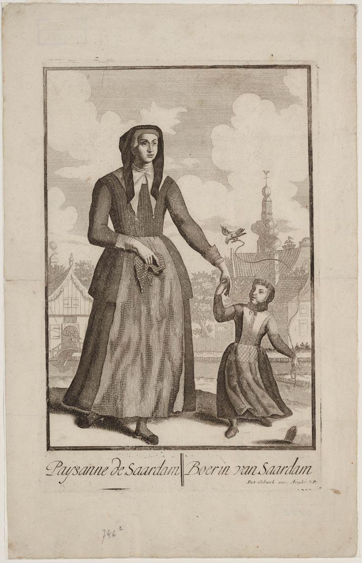 Boerin met kind uit Zaandam Paysanne de Saardam / Boerin van Saardam Maker: kunstenaar: Schenk, Petrus I 1695-1705 #NoordHolland #Zaanstreek