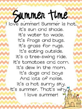 Here is a free poem to use to get ready for summer! Hope you enjoy! The poem is not my original poem. If you download, please leave me some feedback and follow me :)Thanks!