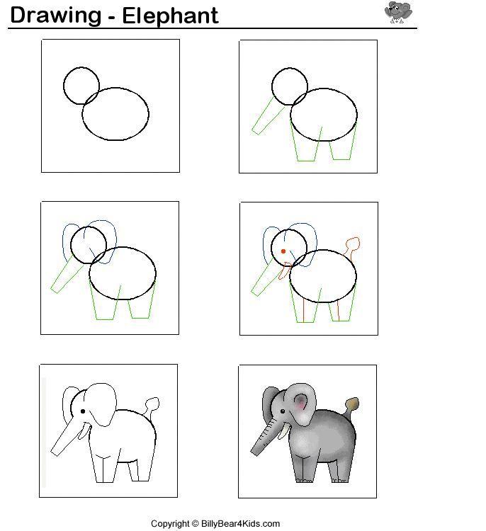 Olifant tekenen met kleuters / desenhando+animais