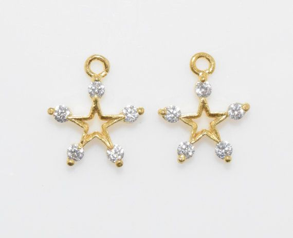 Star Cubic Pendant, Jewelry Supplies, Jewelry Making, Polished Gold - 2pcs / UT0017-PG