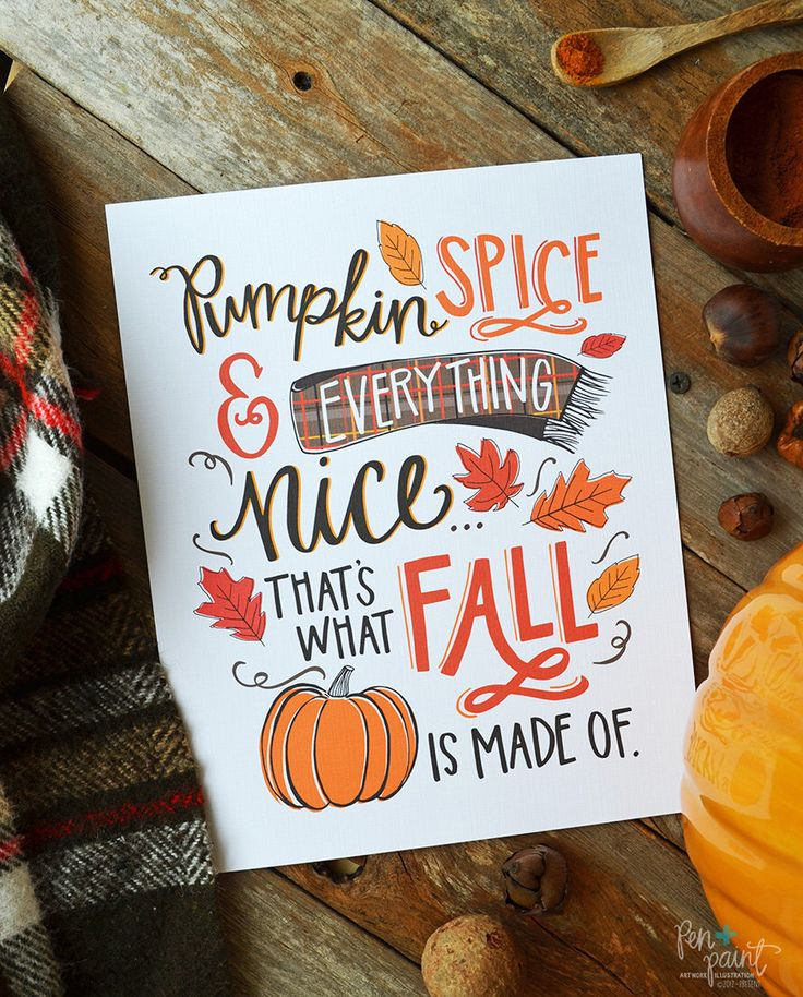Pumpkin Spice & Everything Nice, Happy Fall, Seasonal Decor, Autumn, Illustration, Pumpkins, Fall Decoration, Print, Pumpkin Spice Season by penandpaint on Etsy https://www.etsy.com/listing/462688320/pumpkin-spice-everything-nice-happy-fall