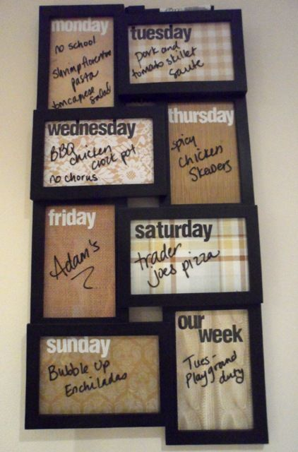 Do this for a weekly planner. I think a better use of this space would be 'to-do/to pay/shopping list/etc....   A meal planner wood also be good, but keep it on the fridge.