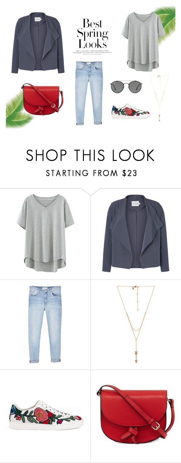 """""""Spring Casual Outfit"""" by lacreativeme on Polyvore featuring H&M, MANGO, Rebecca Minkoff, Gucci, KC Jagger and Ray-Ban"""