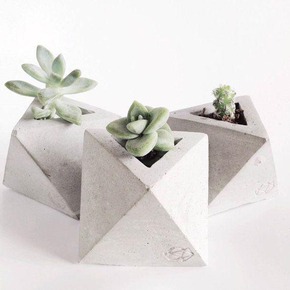 Mini Geometric Concrete Planter van ConcreteGeometric op Etsy