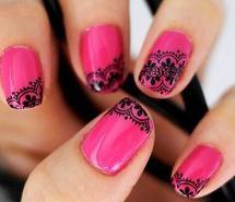 piiink!!: Black Lace, Nails Design, Hot Pink Nails, Nailsart, Lace Nails, Romantic Nails, Nailsdesign, Nails Art Design, Nail Art