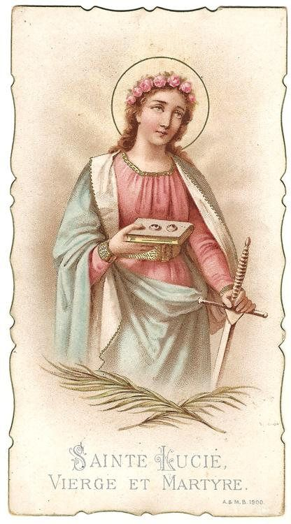 St. Lucy Antique Vintage French Holy Prayer Card Catholic