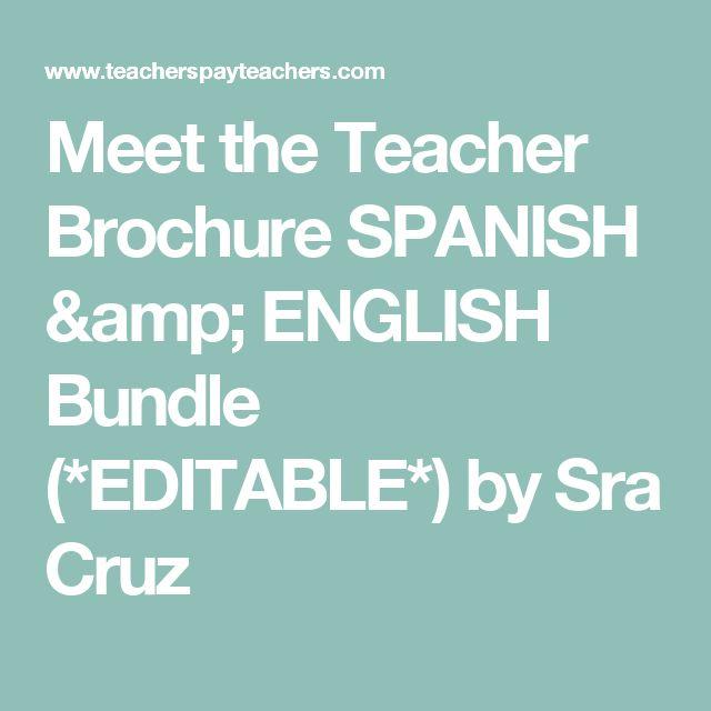 Meet the Teacher Brochure SPANISH & ENGLISH Bundle (*EDITABLE*) by Sra Cruz