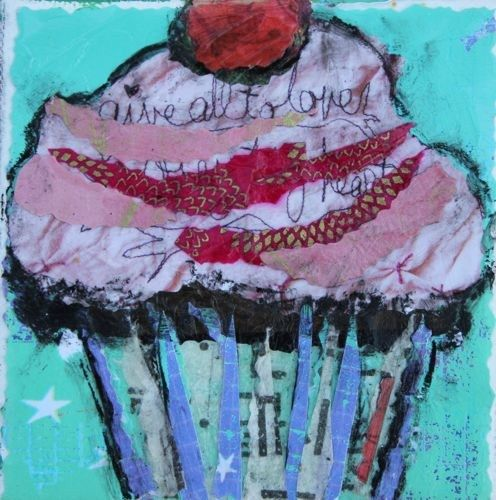 """Festive Cupcake, Contemporary Mixed Media Still Life by Arizona Artist Amy Whitehouse"" - Original Fine Art for Sale - © Amy Whitehouse"
