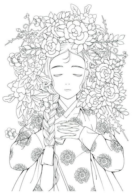 Fairy Tale Korean Illustrations Coloring Book Hanbok Rhpinterest: Korean Coloring Pages For Adults At Baymontmadison.com