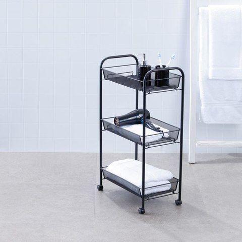 3-Tier Bathroom Trolley - Black $19
