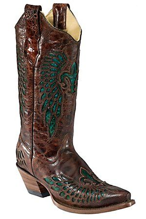 Corral Ladies Whiskey Marble Brown w/Turquoise Fleur de Lis Snip Toe Western Boot --- Want!