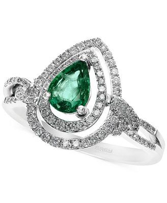 Brasilica by EFFY Emerald (5/8 ct. t.w.) and Diamond (1/3 ct. t.w.) Ring in 14k White Gold