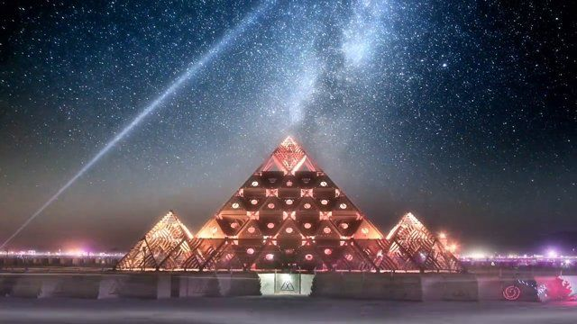 Time-lapse of Burning Man 2013                           http://www.nytimes.com/2014/08/21/fashion/at-burning-man-the-tech-elite-one-up-one-another.html?_r=1
