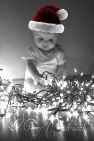 Cute picture with Christmas lights...love the black and white with a little color..just have to figure out to use this for two teenagers.