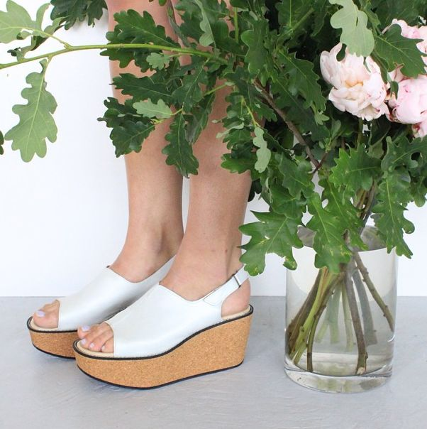 'The Viola Mule' On a handmade solid cork platform in soft metallic leather, this shoe will change your life! Comes in pale blue, white. black and gold