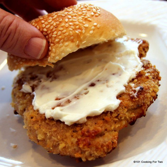 Oven Fried Pork Tenderloin Sandwich from 101 Cooking For Two